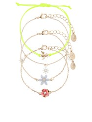 Accessorize 4X Pretty Floral Friendship Bracelets