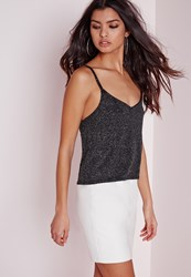 Missguided Glitter Crop Top Silver Grey