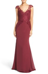 Hayley Paige Occasions Women's Cap Sleeve Lace And Chiffon Trumpet Gown Burgundy Burgundy