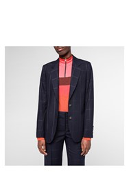 Paul Smith Women's Navy Tonal Check Wool Blazer Blue