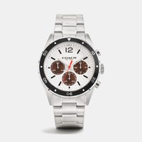 Coach Sullivan Sport Stainless Steel Chrono Bracelet Watch White Brown