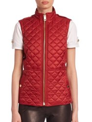 Burberry Tindaleq Quilted Vest Carmine Red