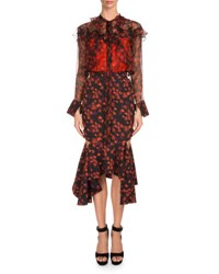 Givenchy Long Sleeve Floral Print Chiffon Top Red