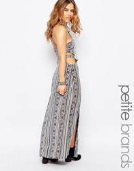 Glamorous Petite Cami Strap Maxi Dress With Open Back In Aztec Print Multi