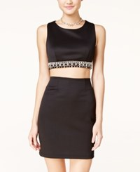 Teeze Me Juniors' Embellished Cropped Bodycon Dress Black