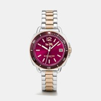 Coach Tatum Two Tone Sunray Dial Bracelet Watch Two Tone Cerise