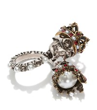 Alexander Mcqueen King And Queen Skull Ring Female Silver