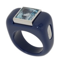 Andre Benitah Creations Paris Squared Off Resin Gold And Lg Gemstone Ring Titanium Blue W Topaz