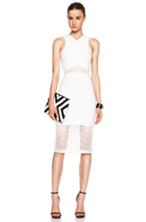 Nicholas Honeycomb Cotton Blend Mesh Panelled Dress In White