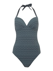 Linea Zig Zag Halter Neck Swimsuit Charcoal
