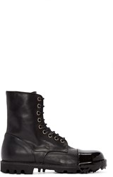 Diesel Black Leather Steel Boots
