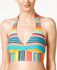 Anne Cole Tropication Striped Halter Bikini Top Women's Swimsuit Multi