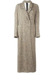 Forte Forte Single Breasted Long Coat Nude And Neutrals