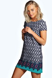 Boohoo Border Print Cap Sleeve Shift Dress Navy