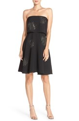 Halston Women's Heritage Rhinestone Crepe Popover Dress Black