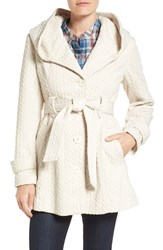 Gallery Women's Jacquard Hooded Coat Off White