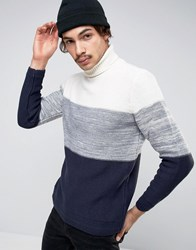 Pull And Bear Pullandbear Roll Neck Jumper In Navy With Colour Block Detail Navy Blue