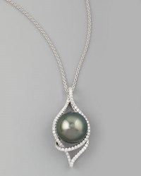 Gray South Sea Pearl And Diamond Loop Pendant Necklace 0.92Ct