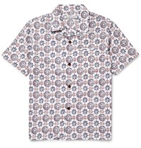 Outerknown Printed Camp Collar Organic Cotton And Hemp Blend Shirt Blue