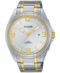 Pulsar Men's Easy Style Two Tone Stainless Steel Bracelet Watch 42Mm Ph9097