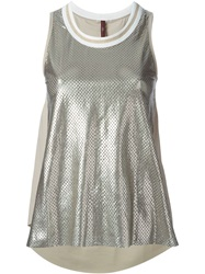 High 'Sports Mesh Scoop' Tank Metallic
