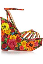 Charlotte Olympia Frida Meredith Leather Appliqued Printed Satin Wedges