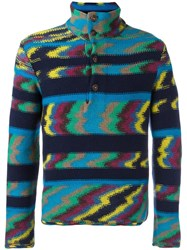 Missoni Zig Zag Pattern Sweater Blue