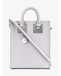 Sophie Hulme Mini Albion Leather Tote Grey Silver White