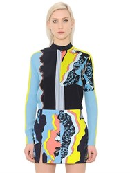 Versace Print And Patchwork Silk Georgette Top