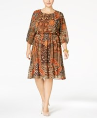 Styleandco. Style Co. Plus Size Printed Peasant Dress Only At Macy's Seventies Mood