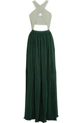 Adeam Cutout Stretch Cotton Jacquard And Plisse Crepe Gown Forest Green