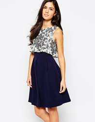 Closet Dress With Sequin Top And Pleat Skirt Navycream