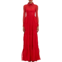 Valentino Leather Collar Tiered Silk Gown