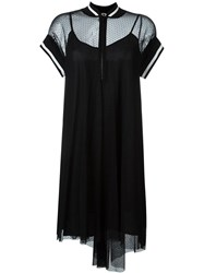 I'm Isola Marras Ribbed Collar Embroidered Tulle Dress Black