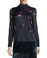 3.1 Phillip Lim Long Sleeve Gingko Embellished Satin Top Midnight