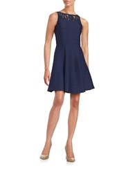 Taylor Lace Trimmed Illusion Dress Navy