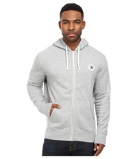 Converse Core Full Zip Hoodie Vintage Grey Heather Men's Sweatshirt Gray