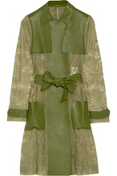 Valentino Paneled Lace And Faux Leather Coat Green