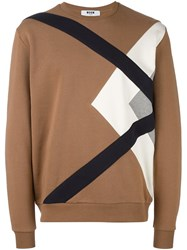 Msgm Abstract Print Sweatshirt Brown