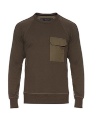 Rag And Bone Aviator Crew Neck Cotton Sweatshirt Green