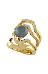 Louise Et Cie Faux Pearl Cutout Ring Gold Grey Pearl