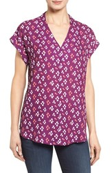 Pleione Petite Women's High Low V Neck Mixed Media Top Purple Ivory