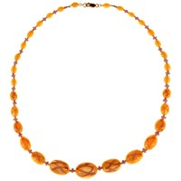 Alice Joseph Vintage 1920S Gold Plated Satin Glass Bead Necklace Amber Yellow Lavender