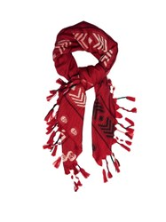 Alexander Mcqueen Arrow And Skull Jacquard Wool Scarf Red Multi