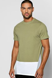 Boohoo Front Colour Block T Shirt Khaki