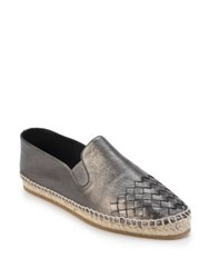 Bottega Veneta Intrecciato Metallic Leather Espadrille Flats
