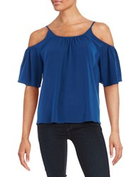 French Connection Short Sleeved Cold Shoulder Top Blue