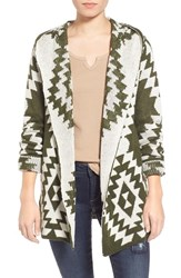 Junior Women's Woven Heart Diamond Pattern Hooded Cardigan Olive Ivory