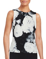 Calvin Klein Petite Pleated Floral Shell Black