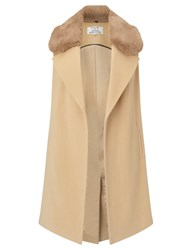 Helene For Denim Wardrobe Faux Fur Collar Waistcoat Camel
